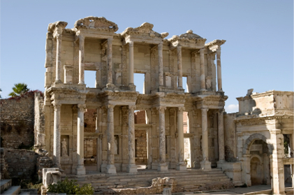 Ruins of the Celsus Library in Ancient Ephesus in Modern Day Turkey